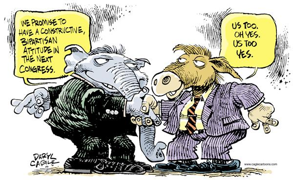 Bipartisanship © Daryl Cagle,MSNBC.com,Elephant, Donkey, Republican, Democrat, Congress, election, bipartisanship, lies, crossed fingers, jackass, attitude, campaign, hand shake, agreement