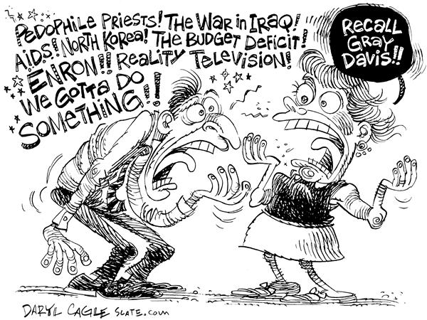 Gray Davis Recall © Daryl Cagle,MSNBC.com,California, governor, election, Schwarzenegger, Arnold, Gray Davis, recall, pedophile, prists, war in Iraq, Iraq, A.I.D.S., Aids, North Korea, budget, deficit, Enron, reality television