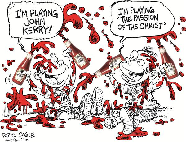 Kerry, Christ and Ketchup Color © Daryl Cagle,MSNBC.com,John,Kerry,Teresa,Heinz,President,senator,senate,massachusetts,campaign,ketchup,catsup,Christ,Passion,Mel,Gibson,movie
