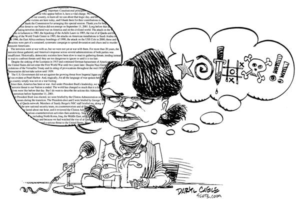 Condi Rice Testimony © Daryl Cagle,MSNBC.com,Condi, Condoleeza, Rice, National Security Advisor, Homeland, Security, 9/11, 9-11, commission