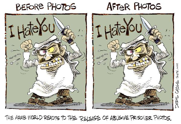 Before & After Photos © Daryl Cagle,MSNBC.com,Arab, Iraq, military, prison, nude, prisoner, photographs, photo, sheiks, angry, mad, dated, before and after, world, release, abusive, abuse, hate, knife, change