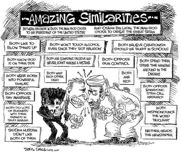 Amazing Similarities © Daryl Cagle,MSNBC.com,Bush,Osama,Bin Ladin,Satan,newspaper,stem,cell,Saddam,rich,gay,desert,nuclear,gun
