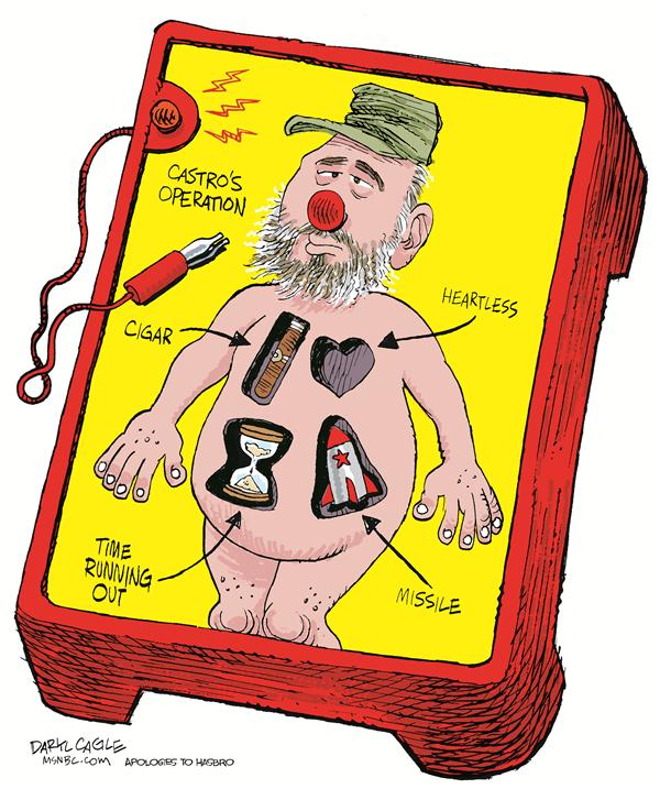 Castro Operation © Daryl Cagle,MSNBC.com,Cuba, Fidel, Castro, Operation, game, electric, medical, hasbro, ideal, cigar, heartless, missle, running out, hour glass, communism, surgery