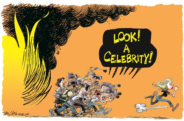Celebrity Fires and the Media © Daryl Cagle,MSNBC.com,Montecito,Malibu,media,television,fire,wildfire,California,Santa Barbara