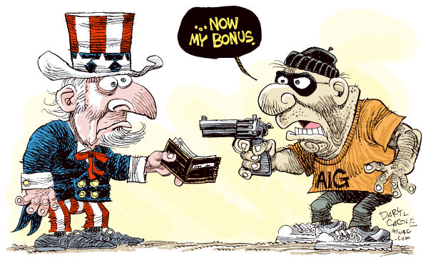 AIG Robbery © Daryl Cagle,MSNBC.com,economy, business, insurance, AIG, American International Group, bonus, stimulus package, TARP, gun, robbery, robber, Uncle Sam