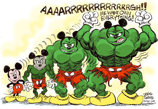 Disney Buys Marvel Comics © Daryl Cagle,MSNBC.com,The Walt Disney Company, Disney, Mickey Mouse, The Incredible Hulk, Hulk, Bruce Banner, Marvel Comics, business, economy, stock market