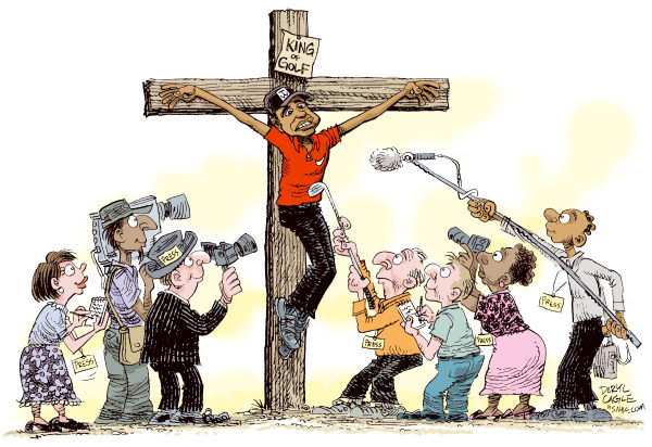 Tiger Woods Crucified by the Press Color © Daryl Cagle,MSNBC.com,Crucifixion, Calvary, cross, jesus, press, media, camera, Tiger Woods, golf, sports, roman, Christianity, religion, infidelity, affair