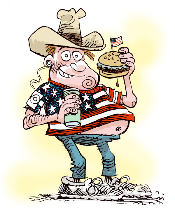Architypal American © Daryl Cagle,MSNBC.com,American, flag, hamburger, ipod, cowboy hat, united states, fat,