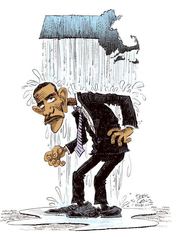 Obama and the Massachusetts Election COLOR © Daryl Cagle,MSNBC.com,Barack Obama, Scott Brown, Massachusetts, rain, senate, election, wet