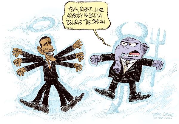 Obama and GOP Snow Angels Color © Daryl Cagle,MSNBC.com,snow angel,devil,weather,storm,elephant,president Barack Obama,cold