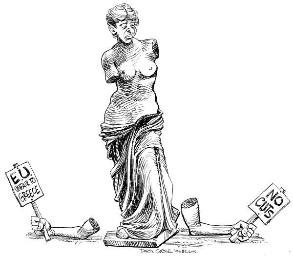 EU and Greece Crisis © Daryl Cagle,MSNBC.com,Venus de Milo,statue,European Union,EU,Greece,financial Crisis,debt,economy,greek