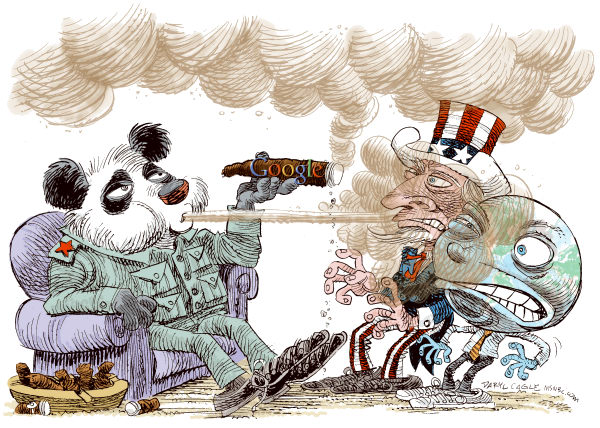 China- Google-Stinky Cigar Color © Daryl Cagle,MSNBC.com,China, censorship, cigar, smoking, smoke, world, globe, Uncle Sam, map, Panda Bear