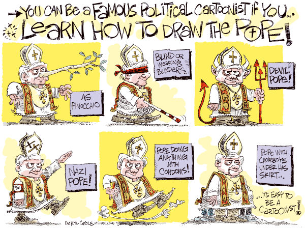 Learn How to Draw the Pope COLOR © Daryl Cagle,MSNBC.com,Pope, condom, pedophile, vatican, catholic, nazi, pinochio