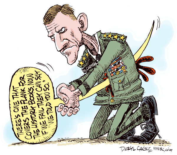 General McChrystal Resigns COLOR © Daryl Cagle,MSNBC.com,Afghanistan,army,soldier,general Stanley McChrystal,Rolling Stone,resign,resignation,Hara Kiri,Sword,balloon,military
