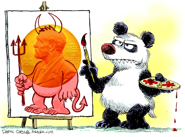 China Paints the Nobel Peace Prize COLOR © Daryl Cagle,MSNBC.com,Panda bear, Alfred Nobel, peace prize, nobel prize, paint, medal, Liu Xiaobo.china