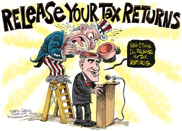 Romney Tax Returns COLOR © Daryl Cagle,MSNBC.com,Mitt Romney,taxes,tax returns,governor,massachusetts,uncle sam,ladder,republican,presidential campaign