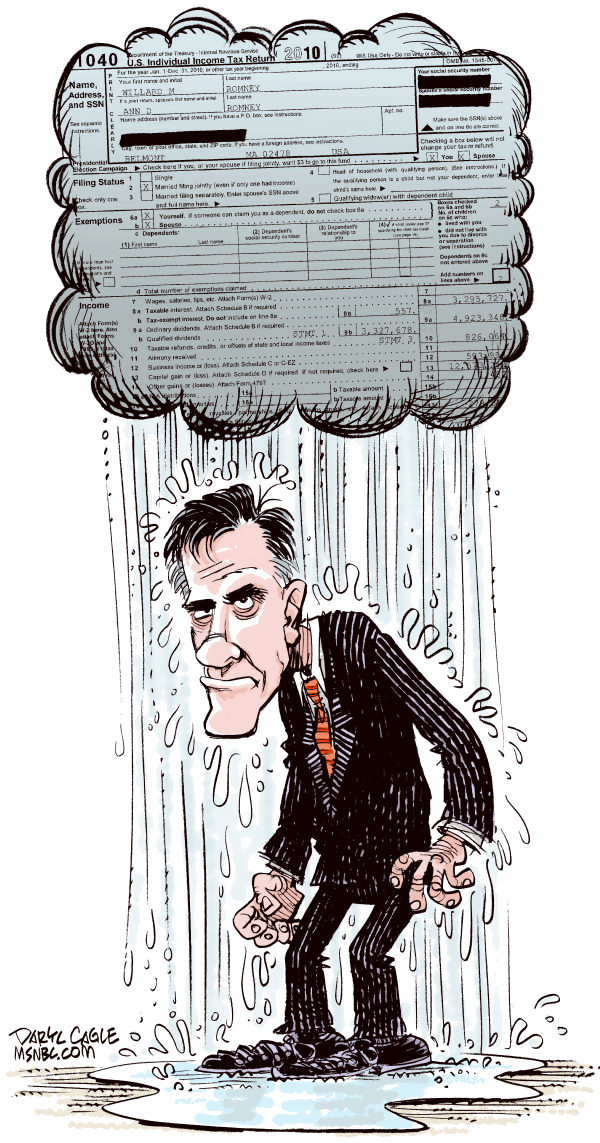 Romney Tax Cloud COLOR © Daryl Cagle,MSNBC.com,Mitt Romney, President, Massachusetts, governor, campaign 2012, income taxes, form 1040, IRS, class warfare, carried interest