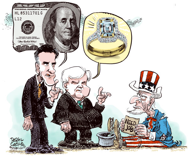 Mitt Newt and Jobs COLOR © Daryl Cagle,MSNBC.com,Mitt Romney, Newt Gingrich, Speaker, jhomeless, jobs, President, Massachusetts, governor, campaign 2012, income taxes, form 1040, IRS, class warfare, carried interest