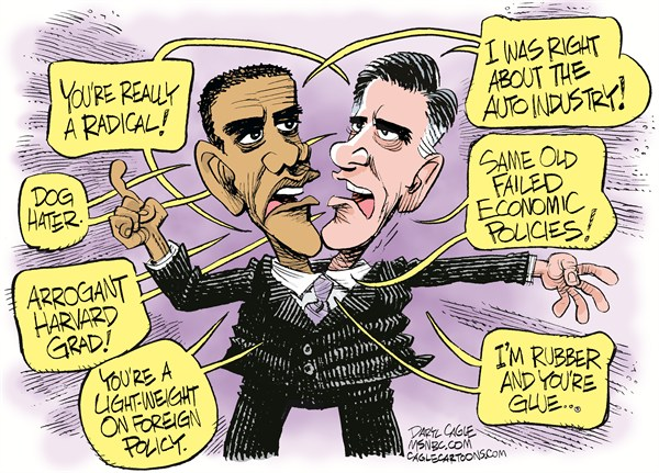Both the Same Candidate © Daryl Cagle,MSNBC.com,Barack Obama,Mitt Romney,Rubber,Glue,Auto Industry,Foreign Policy,Harvard,Dog,radical