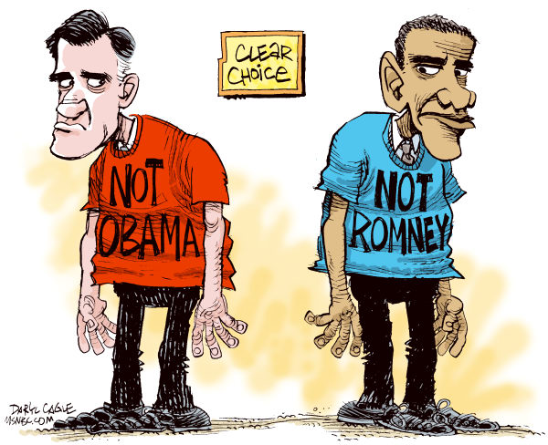 Clear Choice © Daryl Cagle,MSNBC.com,Mitt Romney,Barack Obama,President,campaign,2012,election