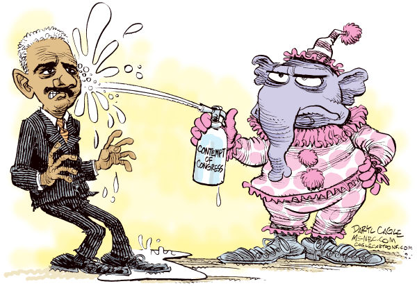 Holder and Contempt of Congress © Daryl Cagle,MSNBC.com,Fast and Furious,the fast and the furious,Eric Holder, Darrell Issa, Congress, Contempt of Congress,Gun Running, elephant,clown,seltzer