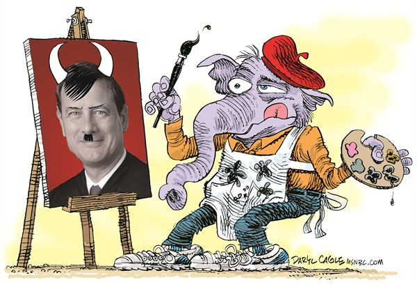 GOP View of Chief Justice Roberts © Daryl Cagle,MSNBC.com,Republican,elephant,GOP,Chief Justice John Roberts,Hitler,devil,satan,painting,art,artist