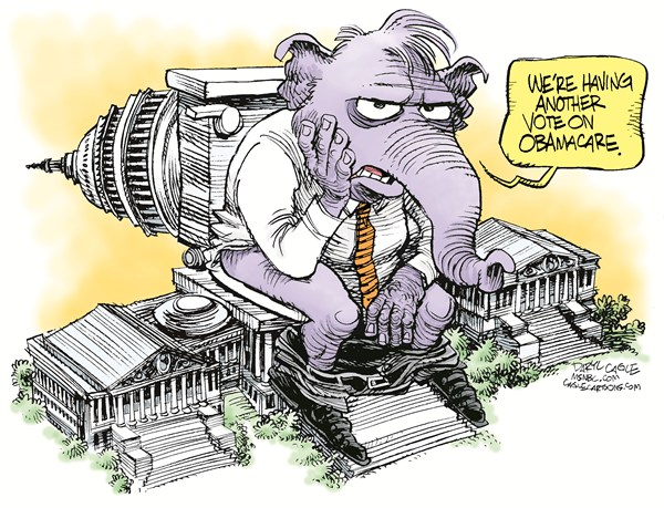 GOP Vote on ObamaCare Again © Daryl Cagle,MSNBC.com,Elephant, GOP, Capitol, Washington DC, toilet, Obamacare, healthcare, medicine