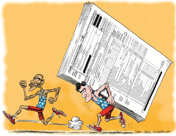 Election Sprint and Romney Taxes © Daryl Cagle,MSNBC.com,Mitt Romney,presidential campaign,Barack Obama,Olympics,race,sprint,running,income taxes,IRS,election 2012