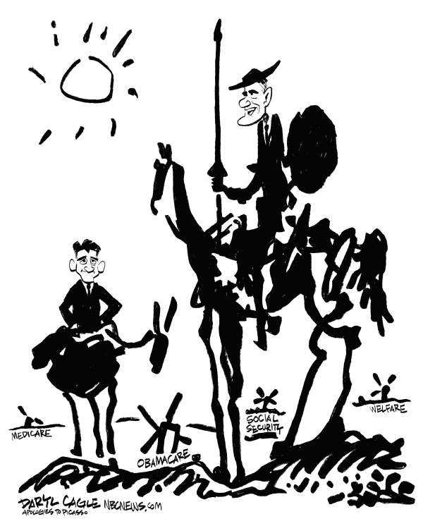 Romney Ryan Windmills © Daryl Cagle,MSNBC.com,Pablo Picasso,Don Quixote,Sancho Panza,Paul Ryan,Mitt Romney,windmills,horse,donkey,Medicare,Obamacare,welfare,Social Security