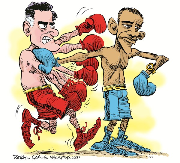 Boxing and Watching the Clock © Daryl Cagle,MSNBC.com,Mitt Romney,Barack Obama,presidential debates,boxing,sports,watch,clock