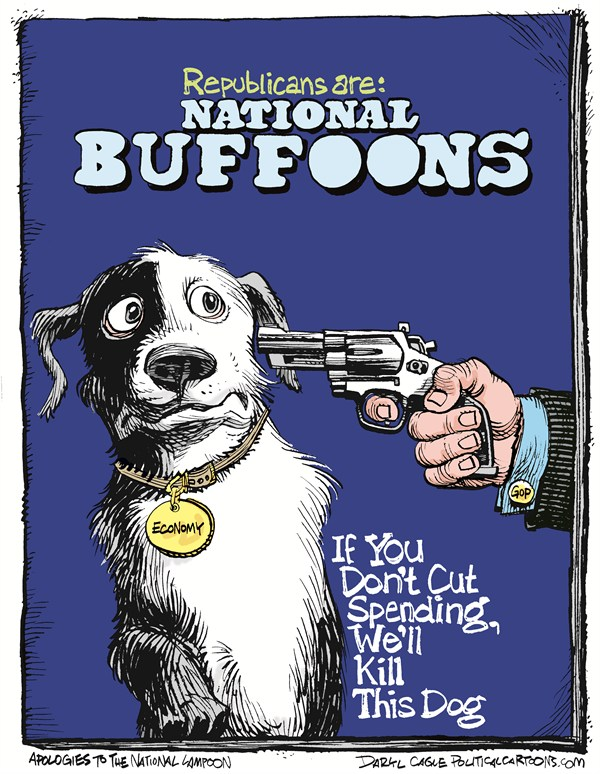 National Buffoons © Daryl Cagle,CagleCartoons.com,Republicans,gun,pistol,handgun,debt ceiling,deficit spending,dog,shoot,kill,National Lampoon,magazine,Debt Ceiling