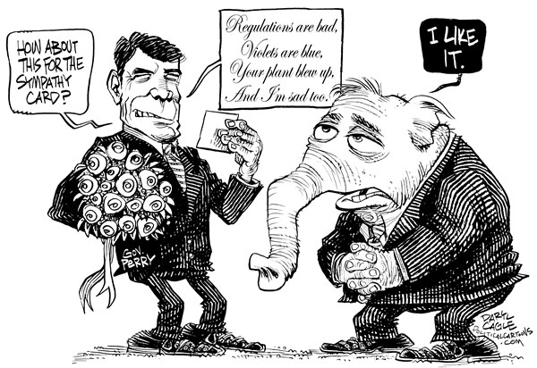 Teas Gov Perry Sympathy Card © Daryl Cagle,CagleCartoons.com,Texas,Fertilizer plant,governor,sympathy card,Rick Perry,elephant,republican,GOP