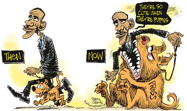 Obama and the Press Puppy © Daryl Cagle,CagleCartoons.com,Barack Obamathe press,media,Ap,scandal,dog,puppies,cute,AP records, obama scandals