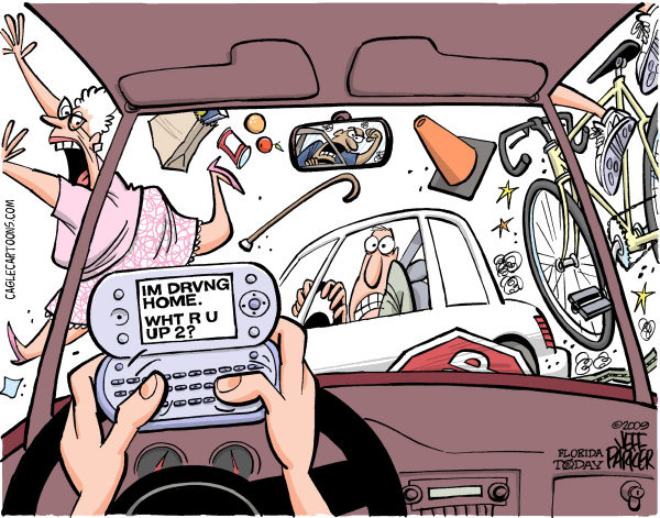 Cell Phone Texting driving funny cartoons